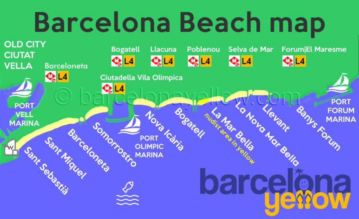 kaart barcelona beach resorts